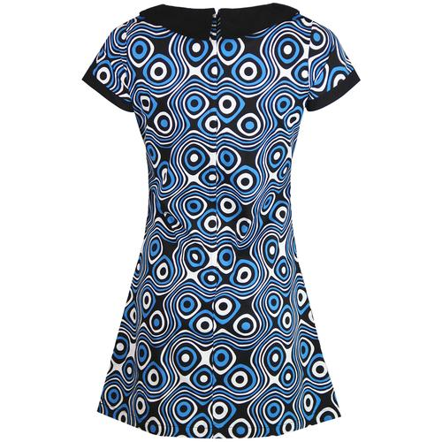 Madcap England Dollierocker Op Art Retro Mod Peter Pan Collar Dress in Blue/Black
