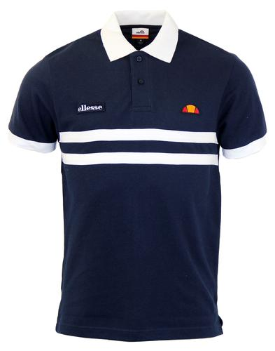 Dorio ELLESSE Retro 1980s Applique Stripe Polo Top