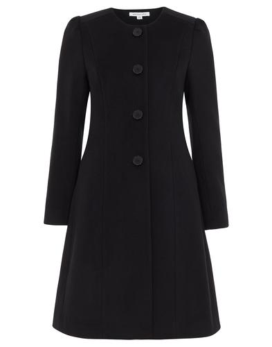 Amelia EMILY AND FIN Retro 60s Collarless Coat Blk