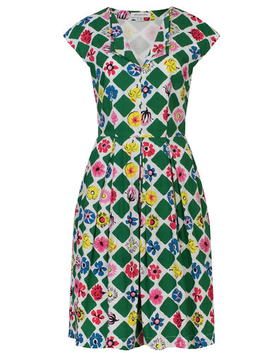 Annie EMILY AND FIN Retro 1950s Floral Lapel Dress