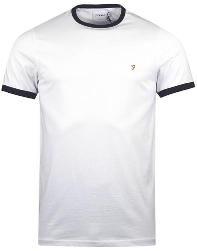 The Groves FARAH Retro Mod Crew Ringer Tee - White