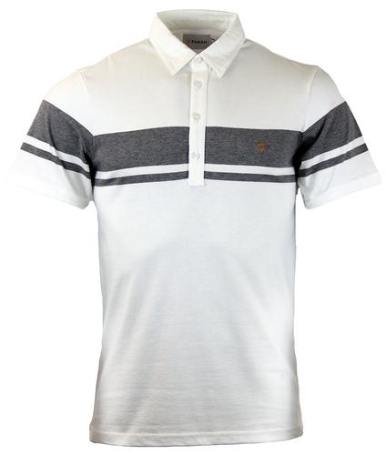 Fry FARAH Retro Mod Stripe Panel Polo Shirt WHITE
