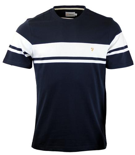 FARAH Huntingdon Retro Mod Panel Stripe T-Shirt N