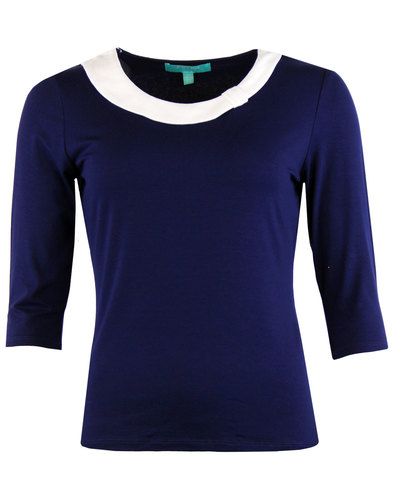 Olivia FEVER Retro Sixties Mod Jersey Top NAVY