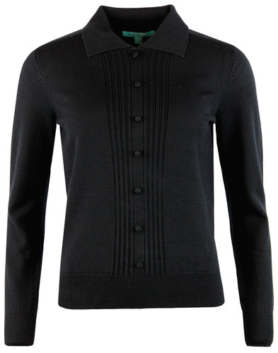 Oona FEVER Retro 1960s Ribbed Polo Jumper BLACK
