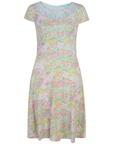 Frances FEVER Vintage Floral Cut Out Flare Dress