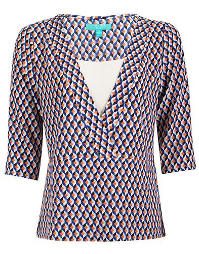 Vivienne FEVER Retro 70s Geo Pattern Shirt Top