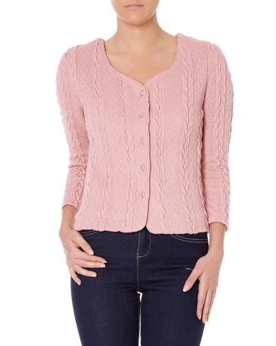 FEVER LONDON RETRO VINTAGE CABLE CARDIGAN PINK