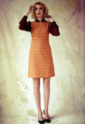 Fever London Nouveau Dress In Orange Mustard 60s Mod Dress