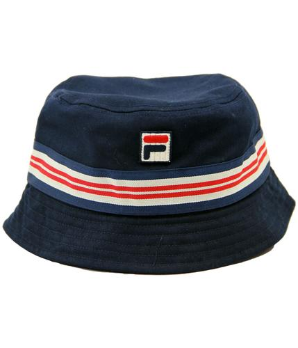 88b49eba128 FILA VINTAGE Casper Retro Indie Britpop Stripe Trim Bucket Hat