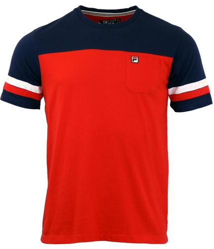 FILA VINTAGE RETRO 70S STRIPE TEE FALLETI RED