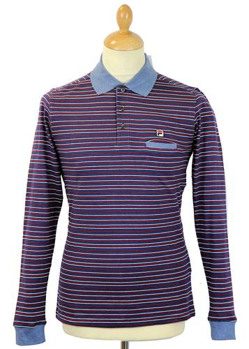FILA VINTAGE RETRO 70S STRIPED POLO SHIRT