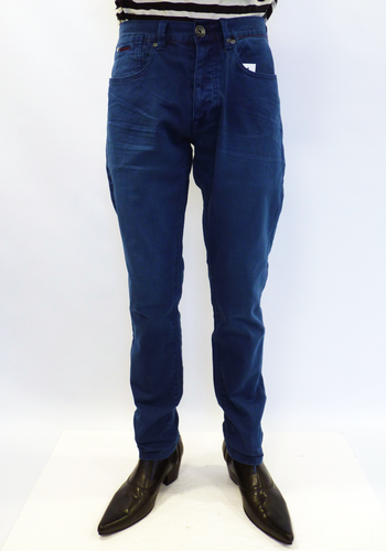 FLY53 Cato Retro Indie Mod Slim Carrot Fit Indigo Denim Jeans