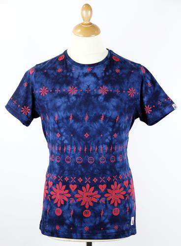 FLY53 Voodont Retro 70s Indie Floral Fair Isle Tie Dye T-Shirt