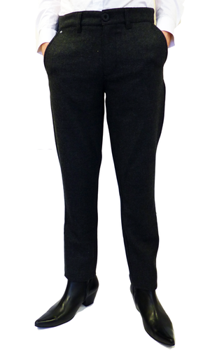Hillfoot FLY53 Mens Retro Mod Herringbone Trousers