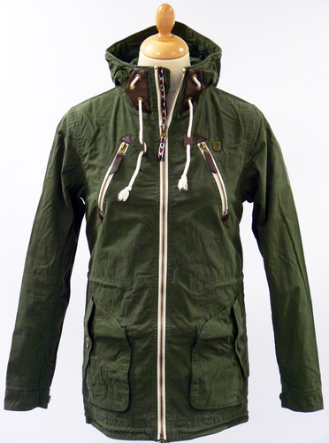 FLY53 Rushen Retro Indie Mod Light Fishtail Parka Jacket Olive