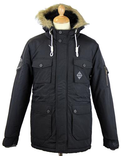 FLY53 FLY 53 RETRO MOD PARKA COAT WINTERTON  BLACK