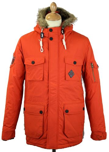 FLY53 FLY 53 RETRO MOD PARKA COAT WINTERTON ORANGE