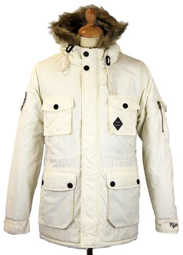 FLY53 FLY 53 RETRO MOD PARKA COAT WINTERTON ECRU