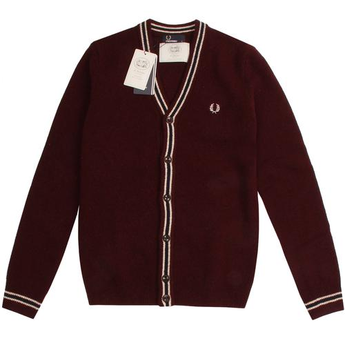 Retro Ladies Yellow Fitted Fred Perry Cardigan