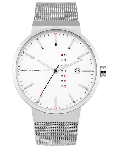 FRENCH CONNECTION Retro Silver Mesh Strap Watch