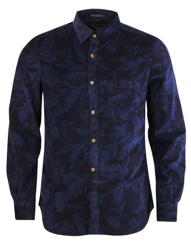 FRENCH CONNECTION Retro Floral Overdye Cord Shirt
