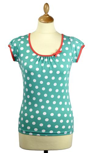 FRIDAY ON MY MIND RETRO 60s MOD SPOTTY TOP MINT