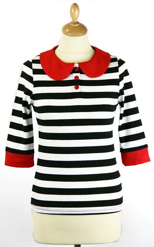 Stripey Top FRIDAY ON MY MIND Retro 60s Polo (BW)
