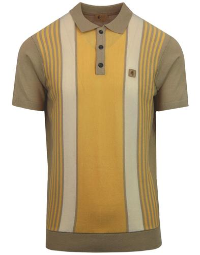 Searle GABICCI VINTAGE Mod Stripe Knit Polo FAWN
