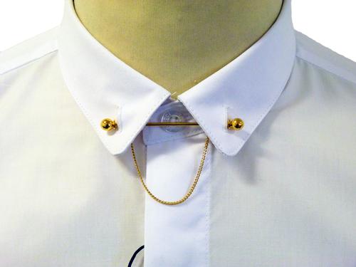 Gabicci vintage wyman retro 60s mod bar collar shirt for Tie bar collar shirt