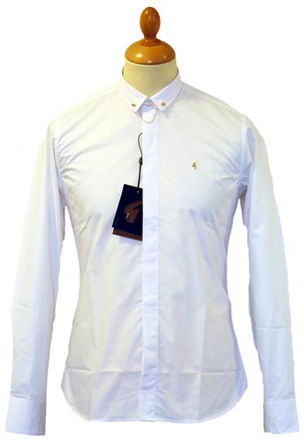 Gabicci Vintage Wyman Retro 60s Mod Bar Collar Shirt