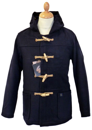 GABICCI VINTAGE Arlington Duffle Coat | Retro Mod Sherpa Navy Jacket