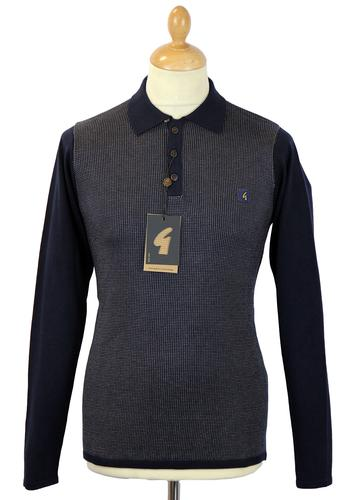 GABICCI VINTAGE RETRO MOD 70S KNITTED POLO NAVY