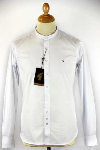 White shirt features elegant bright gold embroidery along button cover, collar and cuff. Mens Collarless Shirt XL ORIGINAL PENGUIN White Stretch Slim Fit Grandad Collar $