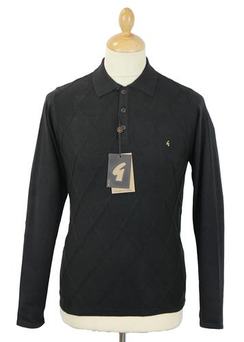 GABICCI VINTAGE RETRO MOD KNITTED DIAMOND POLO