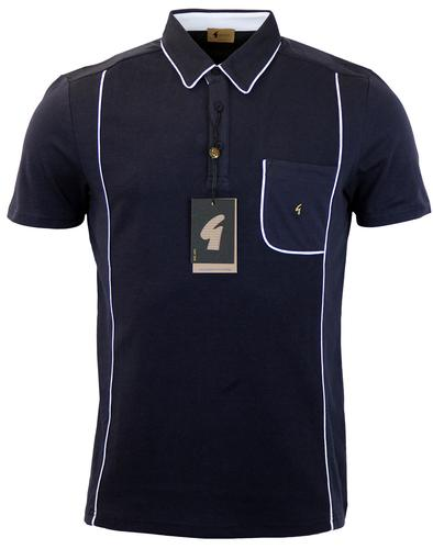GABICCI VINTAGE RETRO MOD PIPED POLO NAVY