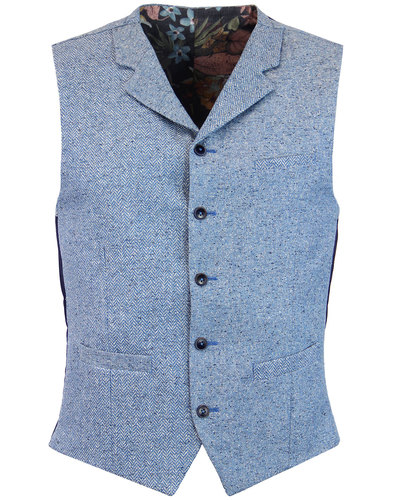 GIBSON LONDON Herringbone Donegal Waistcoat BLUE