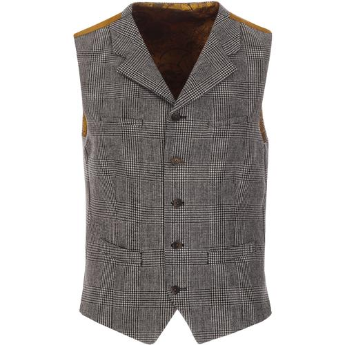 GIBSON LONDON Retro Mod POW Check Lapel Waistcoat