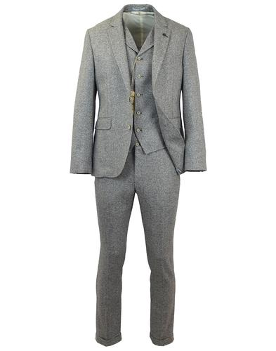 GIBSON LONDON Retro 60s Mod Silver Donegal Suit