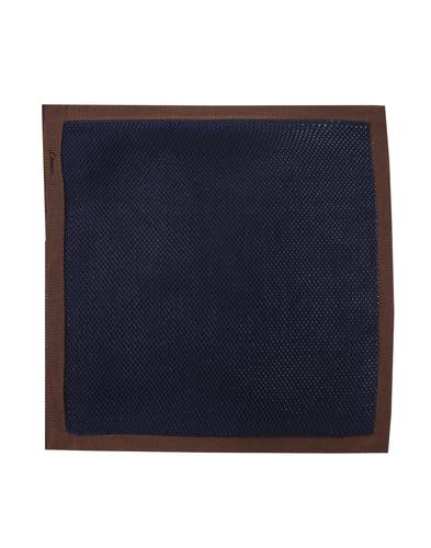 GIBSON LONDON Mod Knitted Pocket Square NAVY/BROWN