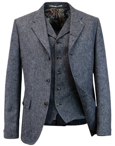 GIBSON LONDON Denim Linen Blazer & Waistcoat