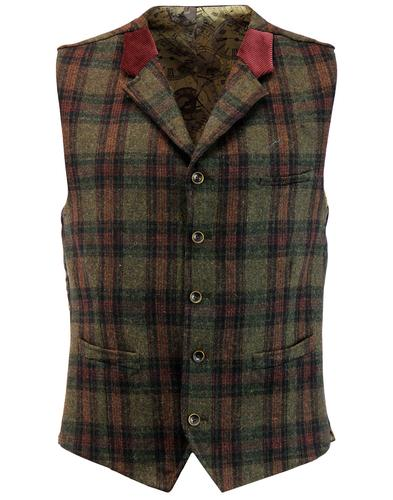 Tyburn GIBSON LONDON 60s Mod Multi Check Waistcoat