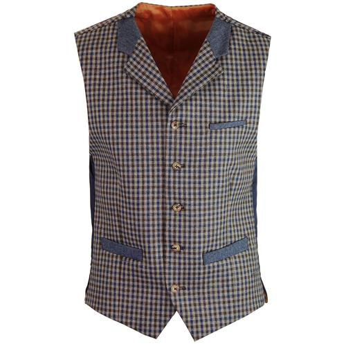 GIBSON LONDON Tyburn 60s Mod Check Waistcoat BROWN