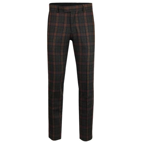 GIBSON LONDON Mod Tartan Check Suit Trousers SAGE