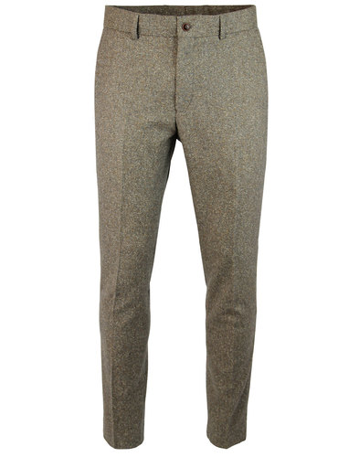 GIBSON LONDON Mod Sand Donegal Flat Front Trousers