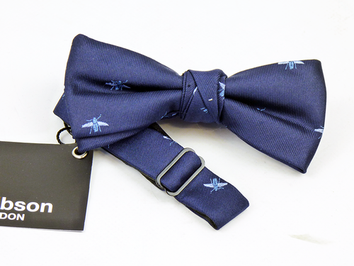 GIBSON LONDON NAVY BEES BOW TIE RETRO MOD BOWTIES