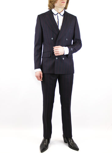 GIBSON LONDON Hemmingway Retro Mod Pinstripe Double Breasted Suit