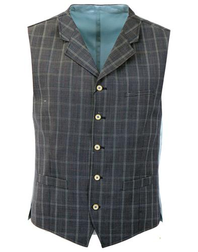 GIBSON LONDON RETRO CHECK 3 PIECE SUIT WAISTCOAT