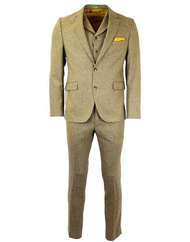 GIBSON LONDON 3 PIECE GOLD DONEGAL SUIT