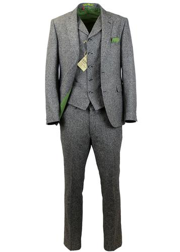 GIBSON LONDON 3 PIECE GREY DONEGAL SUIT